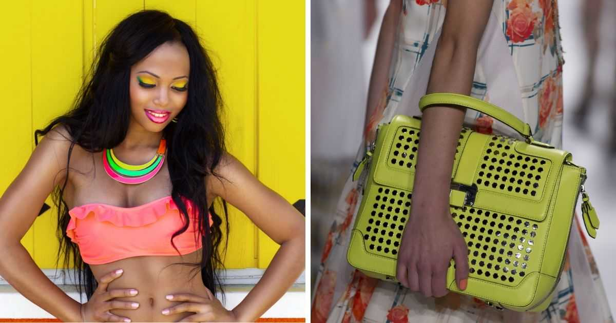 colares e bolsa neon