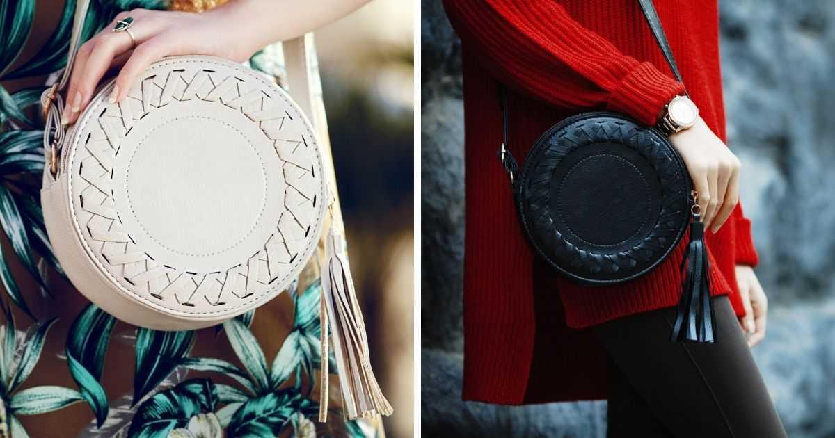 bolsas redondas com detalhes em franjas