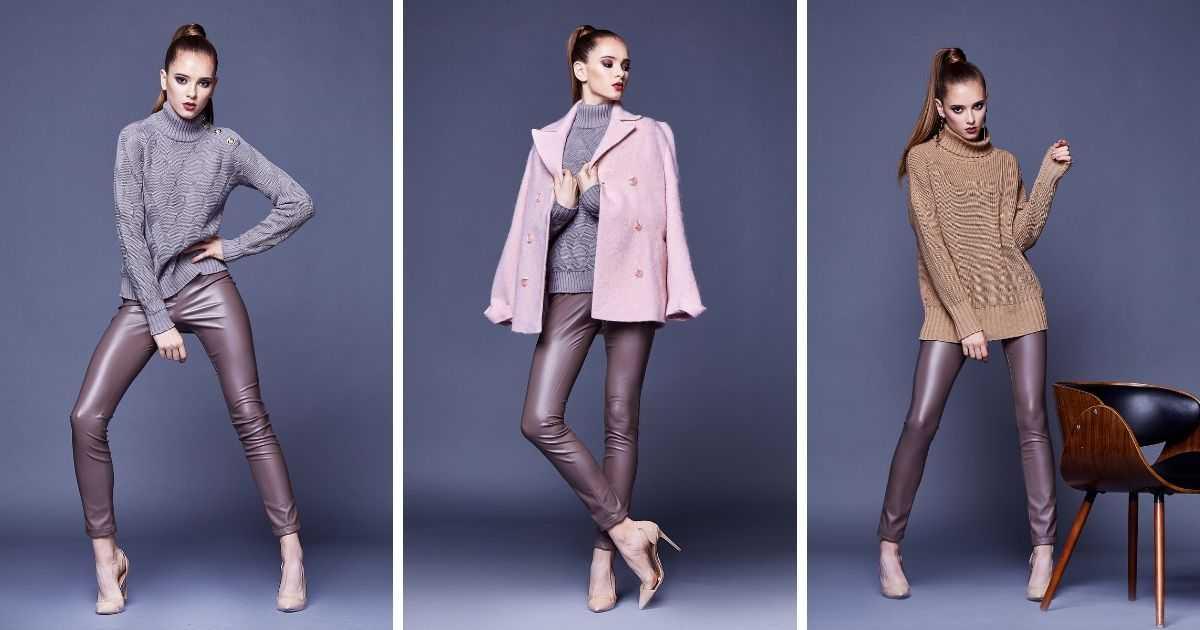 produções com calças de couro lilás