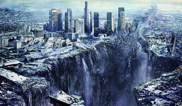 Destruicao cidade, terremoto