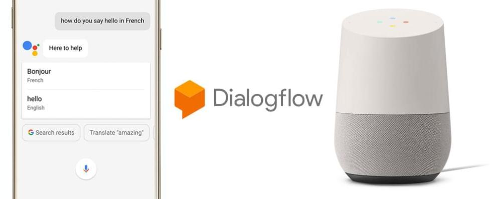 Dialogflow logo, Google Home and Google Assistant