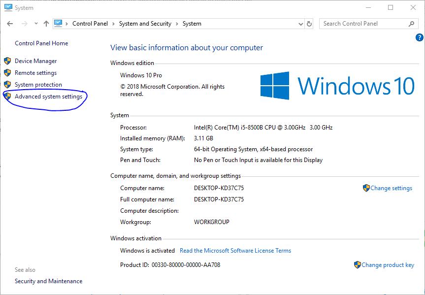 Windows advanced system settings