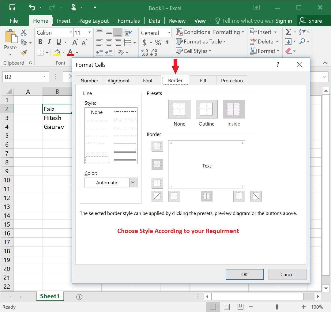 Insert Border And Shades In Excel