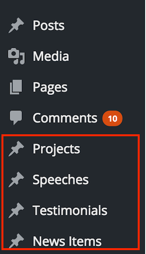 WordPress Dashboard Custom Post Types