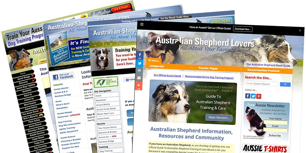 How Anton's Australian-Shepherd-Lovers.com evolved over the years.