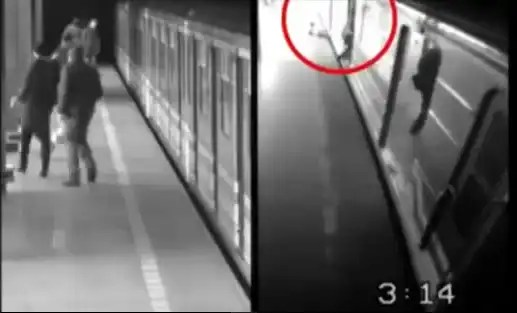 Video: Borracha cae a las vías del metro y se salva