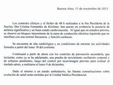 El parte médico oficial completo del estado de salud actual de la presidenta Cristina Kirchner