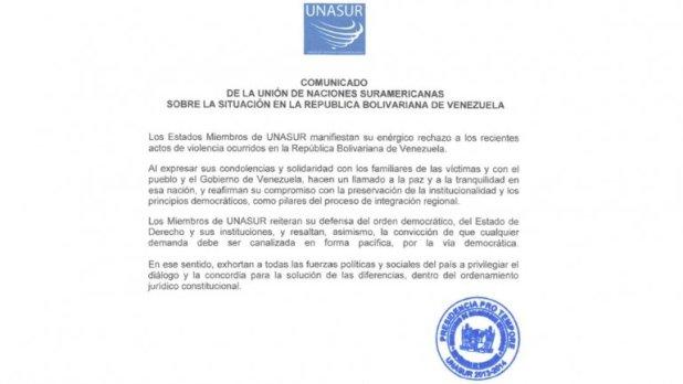 """Comunicado: Unasur rechaza """"enérgicamente la violencia"""" en Venezuela"""