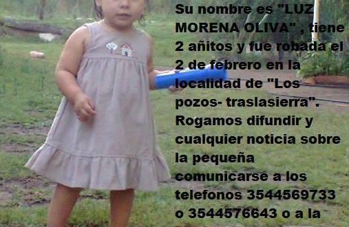 Solidaridad : Nena de 2 años desaparecida LUZ MORENA OLIVA