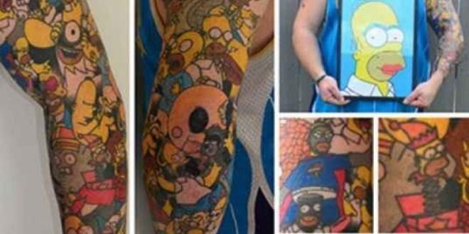 Se tatuó 41 veces a Homero Simpson en el cuerpo