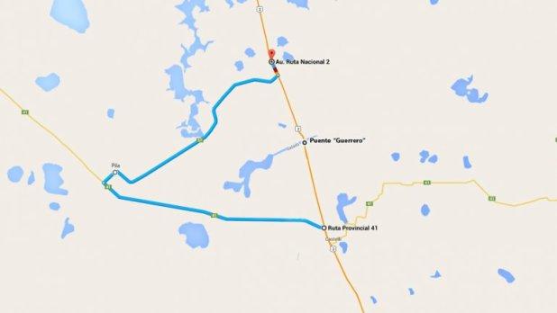 Camino alternativo para eludir el corte en la Ruta 2