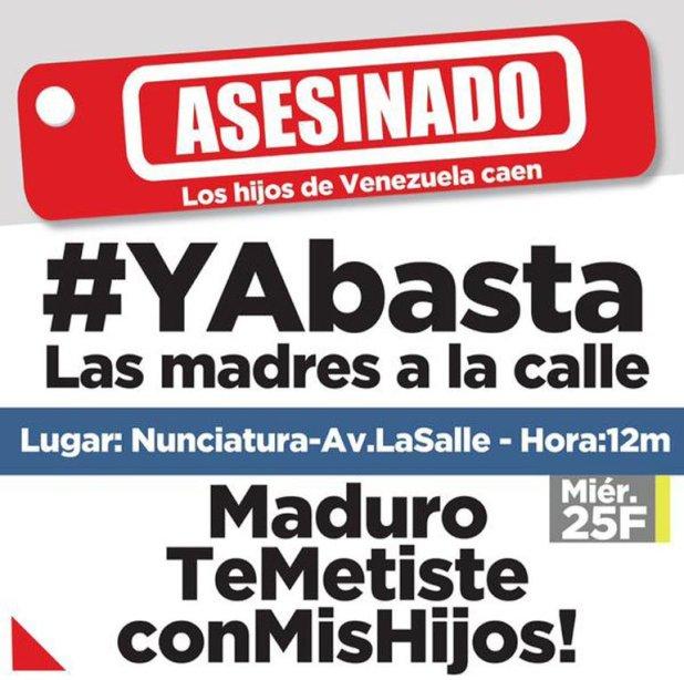#YaBasta: las madres venezolanas salen a las calles para pedir por la vida de sus hijos