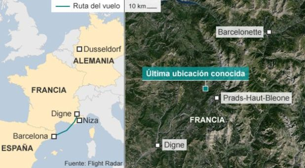 Así fueron los últimos 8 minutos del vuelo de Germanwings que se estrelló en Francia