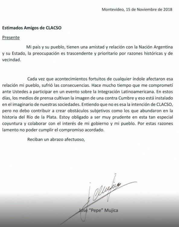 Pepe Mujica se bajó de la contracumbre del G20