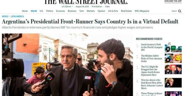 """Alberto Fernandez ante The Wall Street Journal: """"Argentina está en un default virtual y escondido, por culpa de Macri y el FMI"""""""