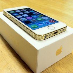 Apple iPhone 5S - 24K GOLD  WHITE SWAROVSKI - FACTORY UNLOCKED - 16GB