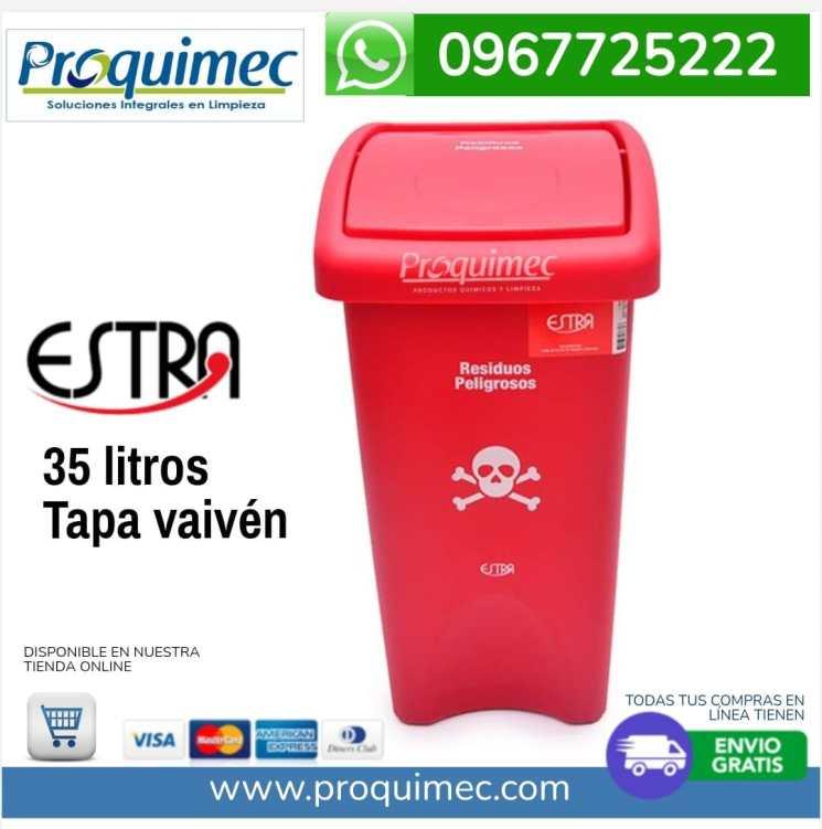 papelera Estra 35 litros tapa vaiven Rojo