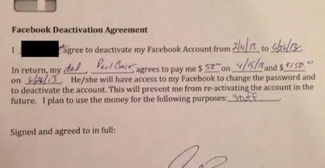 Insólito: Papá paga 200 dólares a hija para que no use Facebook