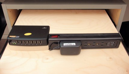 Power and connections drawer with integrate usb hub connected directly to the computers