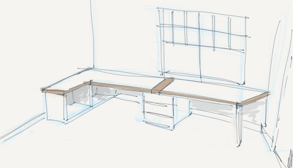 Sketch of desk concept for office