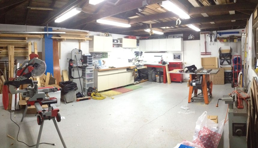 The garage in its mostly finished state. Its a little messy but its being well used