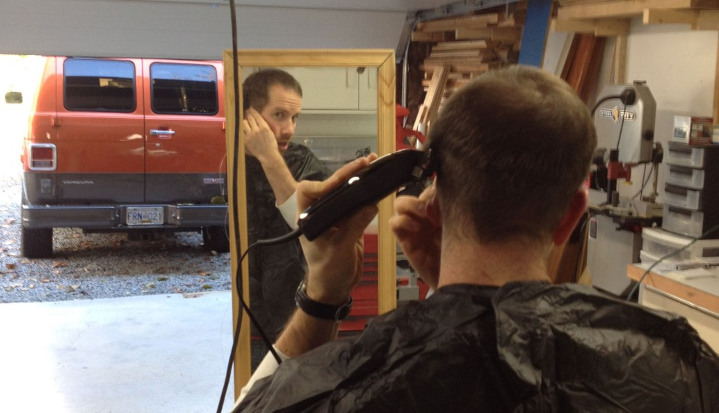 A hair cut in the shop...saving money and mess! Love it!