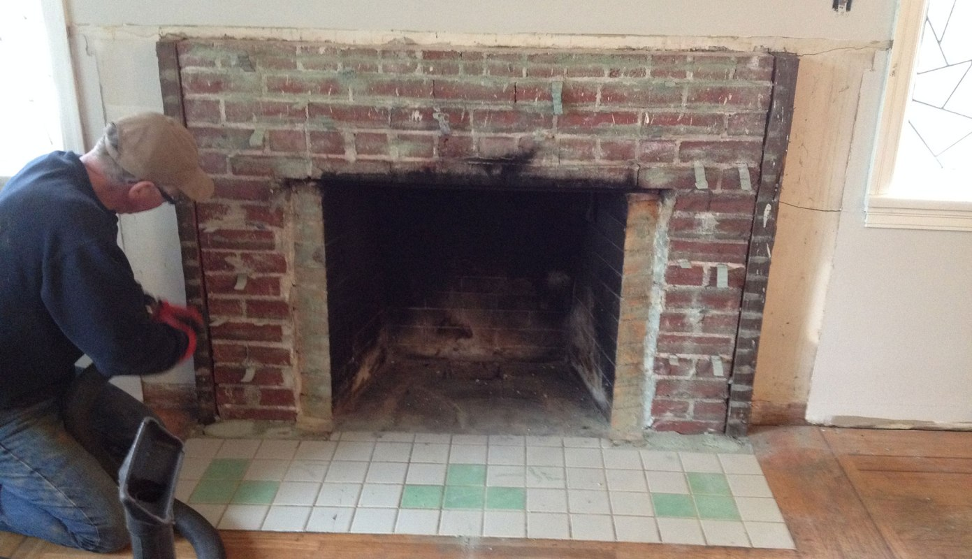 Stripped down to the actual brick enclosure that ties into the chimney