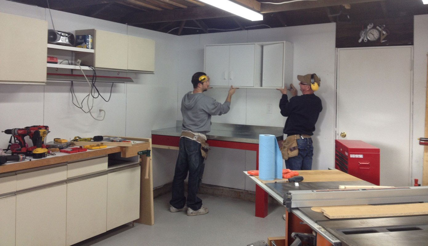 Hanging cabinets...its tough to make them look level when the shop isn't level