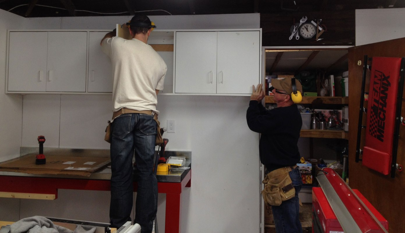 The cabinets get installed