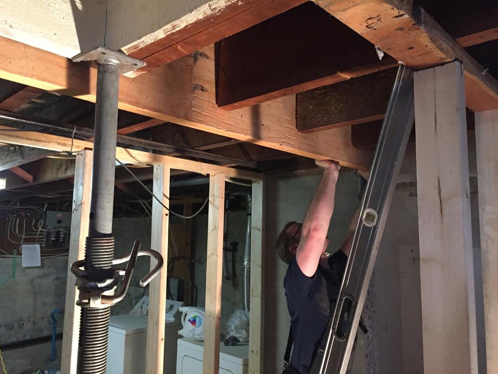 Installing the new beam