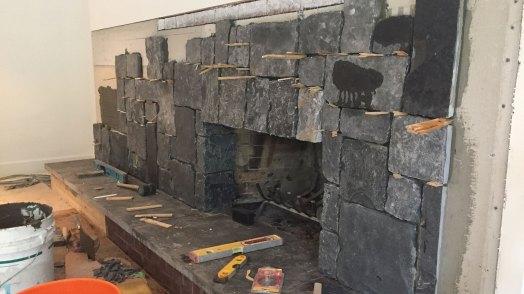 New stone fireplace