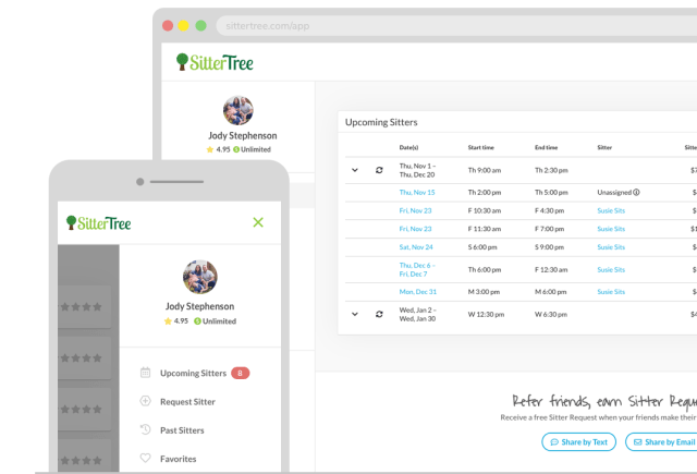 SitterTree App Dashboard for Family
