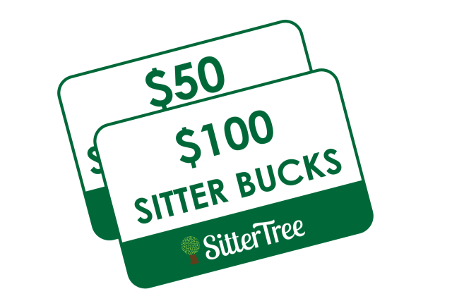 Two overlapping SitterTree gift cards. White, with dark green outline.  SitterTree logo at bottom and $100 Sitter Bucks on the top gift card.