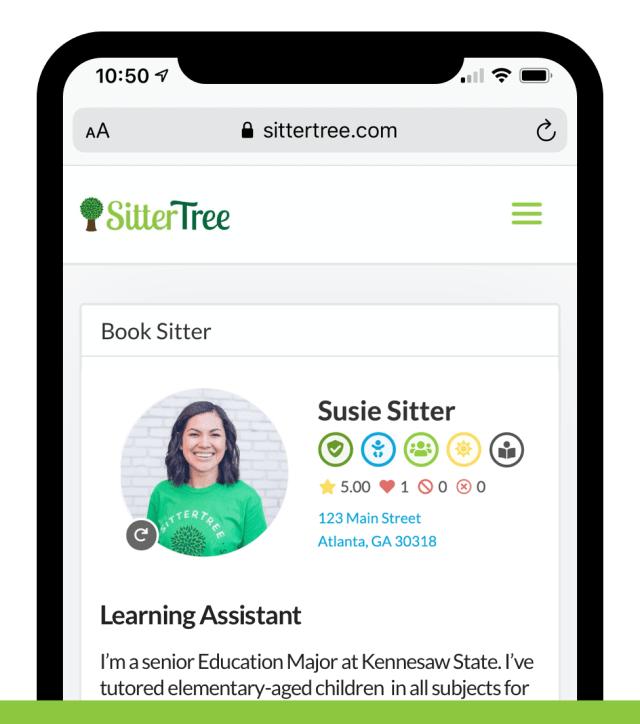 SitterTree Learning Assistant App - Badge View
