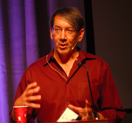 Will Wright, the man behind The Sims, speaking at the Augmented Reality Expo on June 4, 2013. (Credit: Dan Farber)