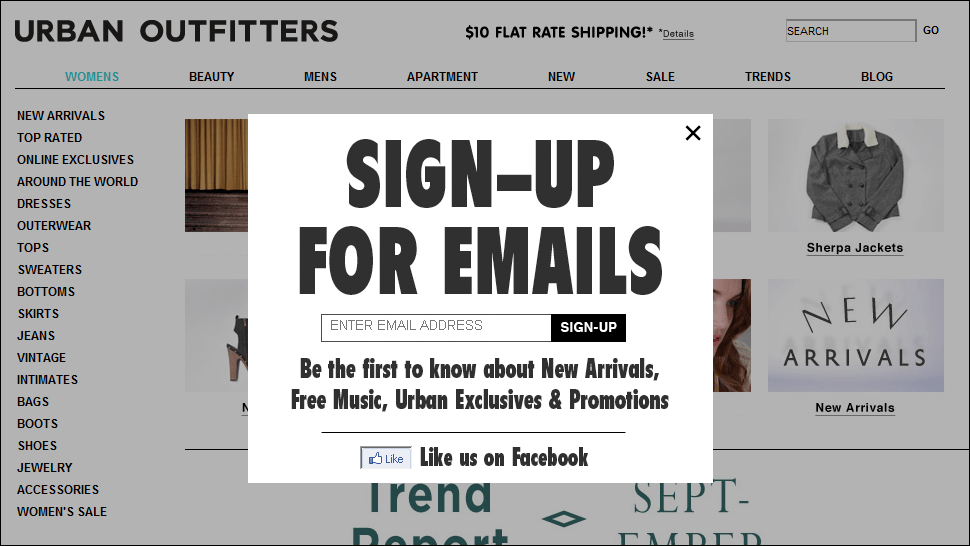 In this example from Urban Outfitters, information about the latest arrivals and promotions is published first via the email newsletter. This is an example of making information scarce. (Our research on email newsletters confirms that the desire to be better informed than others is a driving motivator to subscribe to newsletters.)