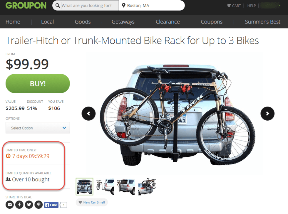 In this example from Groupon, both the time for which this deal is available and the number of items are presented as being scarce.