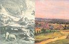 """Die Abbildung zeigt als Collage ein Detail aus """"Landschaft mit dem Regenbogen"""" von Schelte à Bolswert (Kupferstich aus der Serie der Kleinen Landschaften, Siegerlandmuseum) sowie ein Detail aus John Constables """"Englischer Landschaft"""" (Öl auf Pappe, 1820, Von der Heydt-Museum Wuppertal)."""