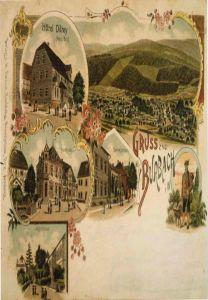 """Ein """"Gruß aus Burbach"""": Die historische Postkarte zeigt noch heute bekannte Motive aus der Gemeinde und ist ein Schätzchen aus dem Fundus des Archivs."""