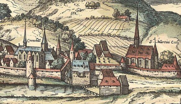 """Ausschnitt aus einer Stadtansicht Siegens von 1617 mit Franziskanerkloster (""""Coenobiu""""), Martinikirche und Stadtmauer. Vorlage: Stadtarchiv Siegen."""