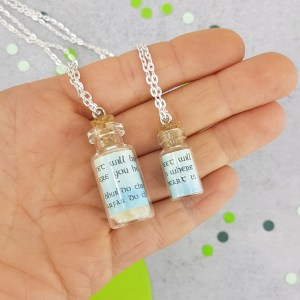 mini and midi glass bottle pendants side by side