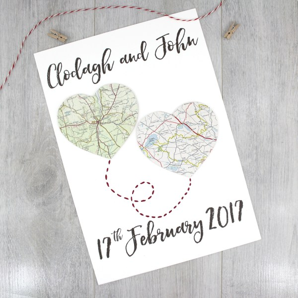 two map hearts personalised wedding artwork travel inspired romantic gifts