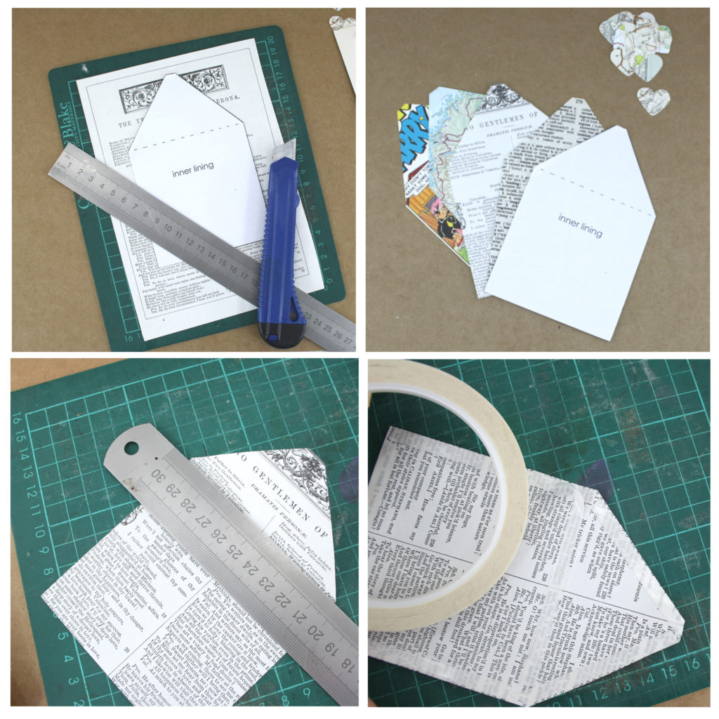 step 4 to 7 making the inset inner lining for your envelope