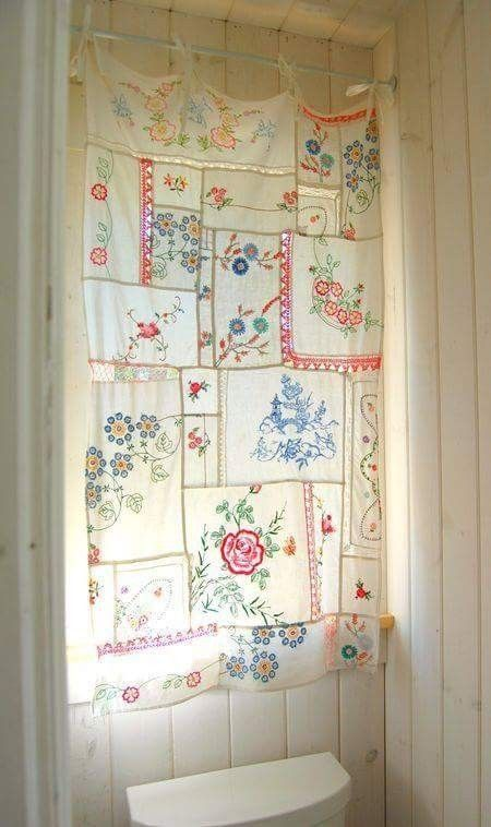 vintage tea towel curtain creating a handcrafted home