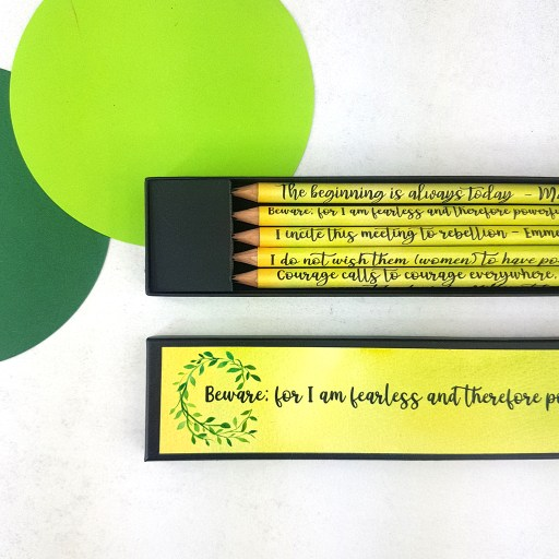 HB pencils with a selection of famous feminist quotes on them