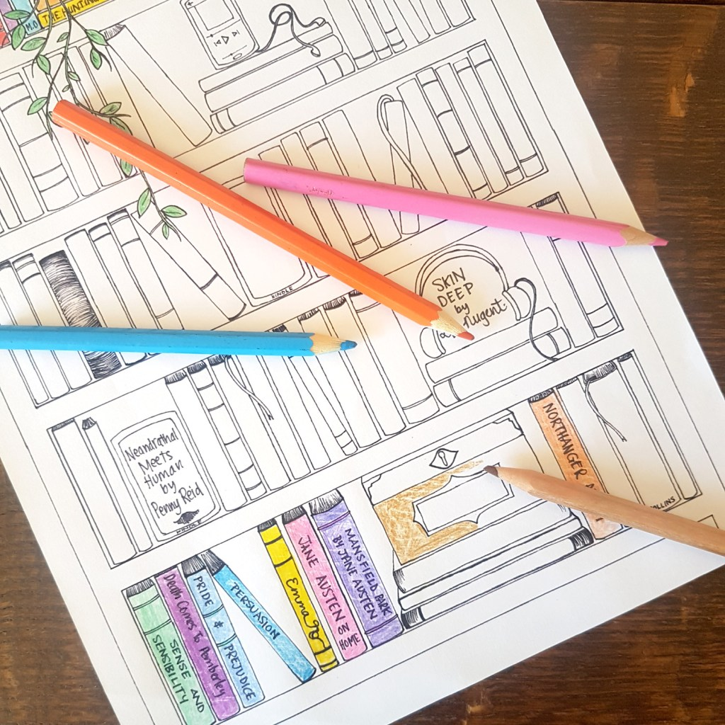 adult book themed colouring sheet boredom busters for teens and adults