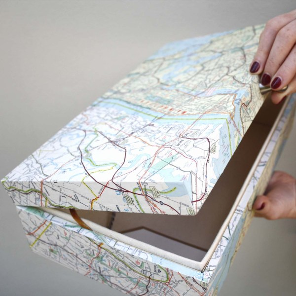brooklyn and manhatten vintage map keepsake box