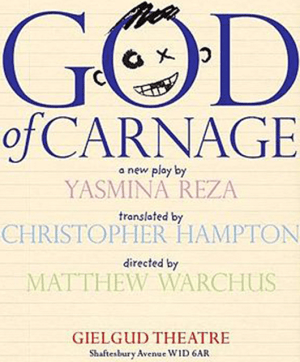 "Original 2008 West End production poster of ""God of Carnage"" by Yasmina Reza (Source: Wikipedia)"