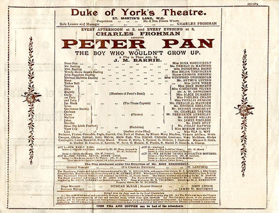 """Original program for the 1904 production of """"Peter Pan"""" (Source: Wikimedia Commons)"""