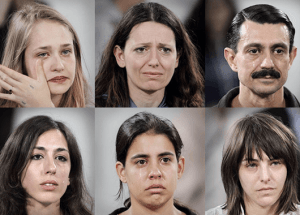 "Reactions of sitters as captured by photographer Marco Anelli and compiled in the book ""Portraits in the Presence of Marina Abramovic"" (Source: Marco Anelli/Hyperallergic)"